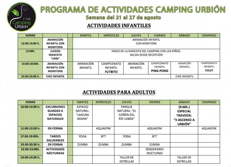 PROGRAMA DE ACTIVIDADES SEMANA DEL 21 AL 27 DE AGOSTO