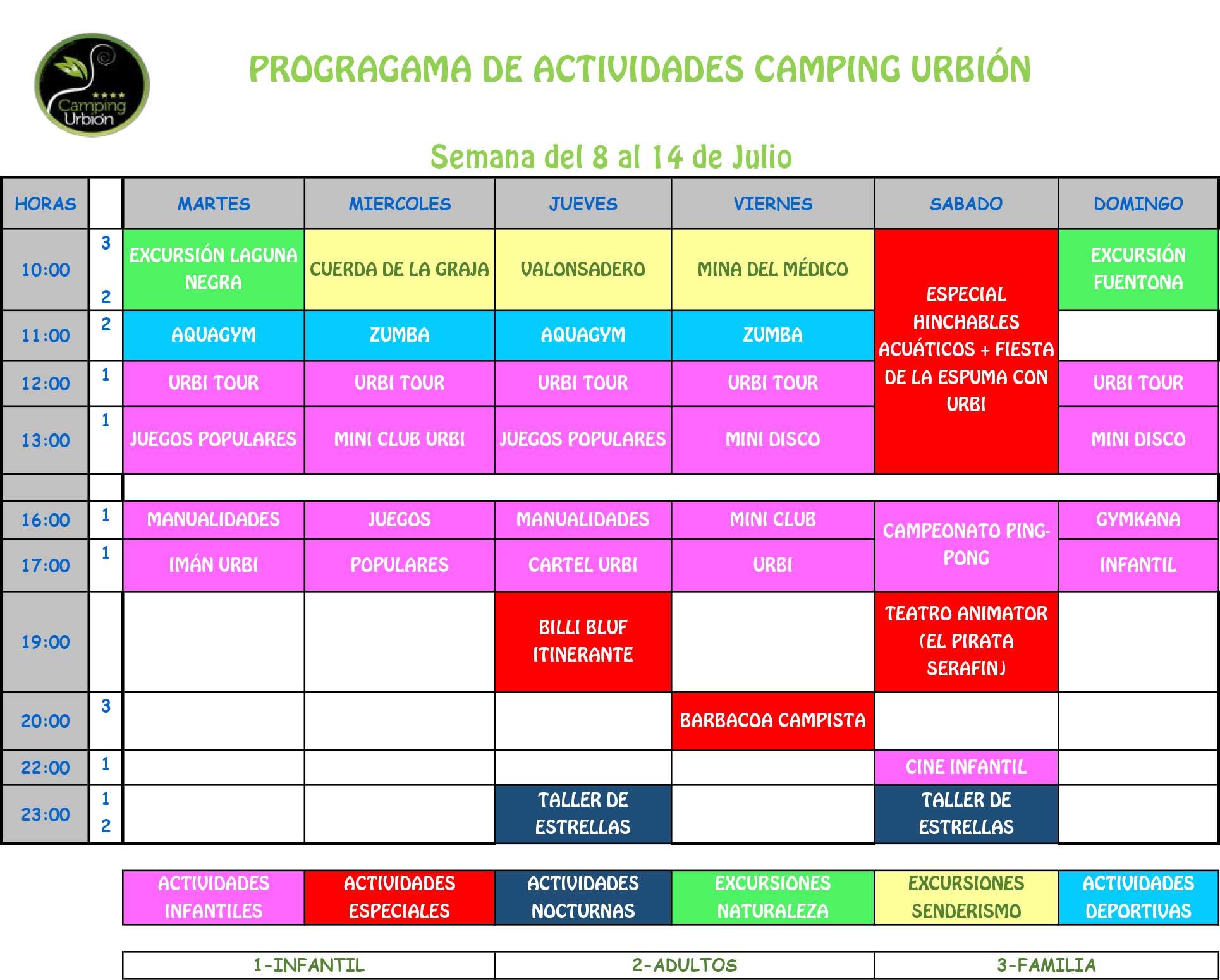 PROGRAMA ACTIVIDADES JULIO CAMPING URBION SORIA