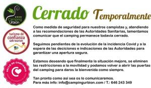 CARTEL_CERRADO TEMPORALMENTE CAMPING URBION