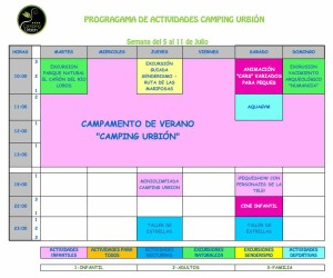 ACTIVIDADES CAMPING URBION VERANO